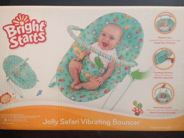 ae3d97a8f636 Bright Starts Jolly Safari Vibrating Baby Bouncer for sale online