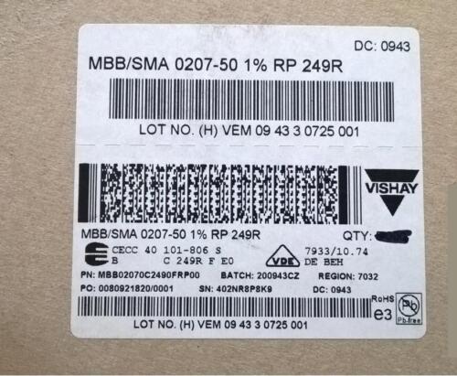 ZSM211 Qty 100 pcs MBB0207 Series Metal Film Axial Resistor 249 Ohm 1/% .6W
