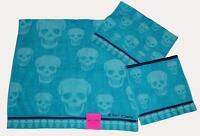 3 Betsey Johnson Crazy Skulls Aqua /turq Bath/hand/wash Cloth Towels Set