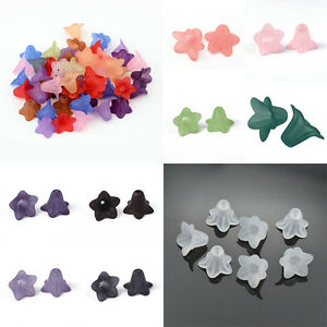 50pcs-Frosted-Transparent-Acrylic-Flower-Beads-Cute-Bead-Caps-Findings-16x12mm