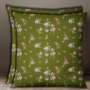Indian Sofa Pillow Case Army Green Square Floral Print Cushion Cover 2 Pcs