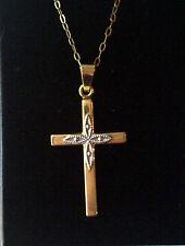 9ct gold yellow & white gold cross & yellow gold 16.5 inch fine chain 9k 1.4g