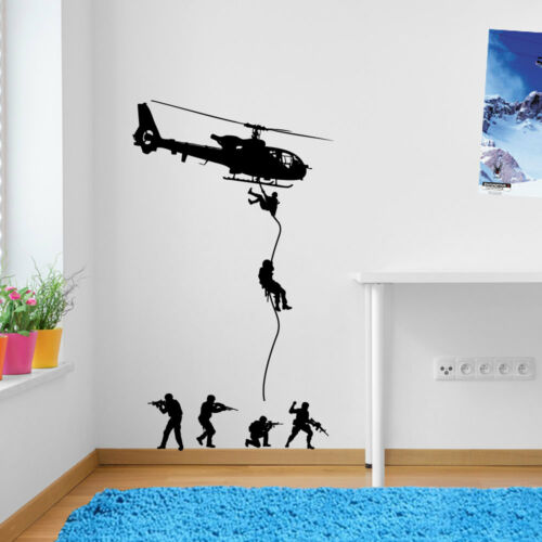 Helicopters Army Men Parachute Soldiers Military Wall Stickers Decal Kids  A40 Blue X Large Set As Pictured