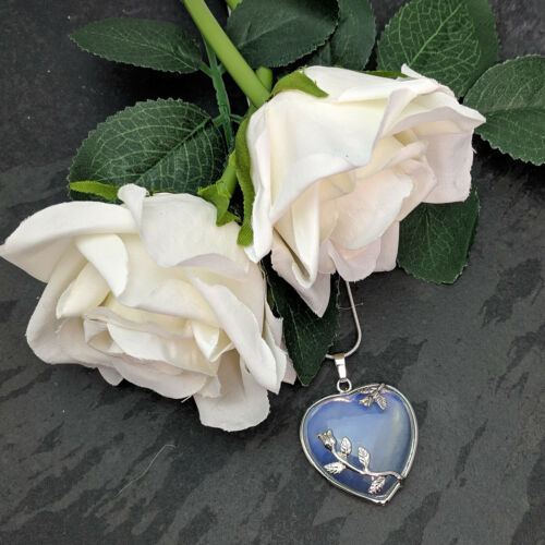 Silver Plated Opalite Heart Pendant On Silver Plated Snake Necklace