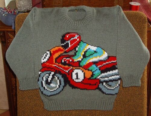 MOTOR BIKE  JUMPER  NEW HAND KNITTED SIZE 4