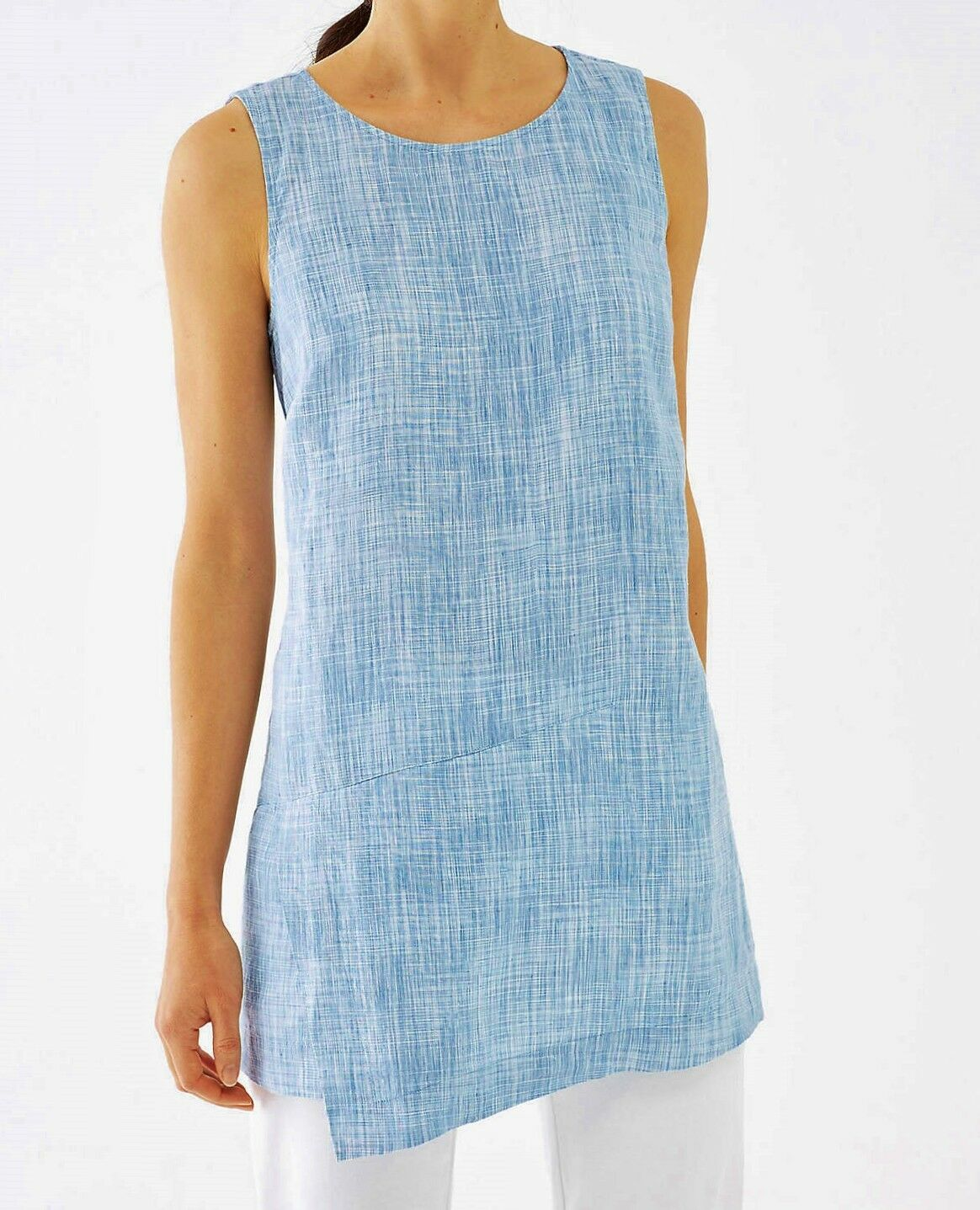 J Jill PURE JILL oben XL Linen Wrap Tunic Blau Sleeveless NEW Relaxed May Fit 1X