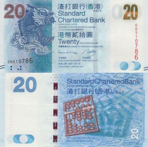 - Fish//Abacus//p297d UNC 20 Dollars SCB Hong Kong 1.1.2014