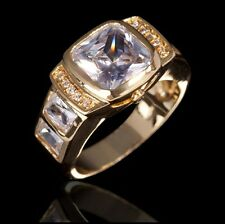 Fashion Size 9 Halo White Sapphire 18K Gold Filled Men's Engagement Luxury Ring