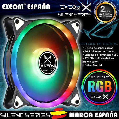Ventilador Para Caja Pc Ordenador Gaming 12CM RGB 12v Exeom® Silent Series