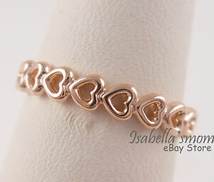 f867fc346 LINKED LOVE Genuine PANDORA ROSE GOLD Plated HEARTS Stackable Ring ...