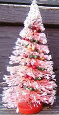 Pink Frosted Bottle Brush Christmas Tree Mercury Glass Beads 8 inches Vintage