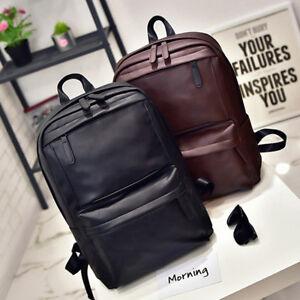 Men-PU-Leather-Backpack-School-Pack-Work-Bag-Black-Travel-Satchel-Rucksack-US