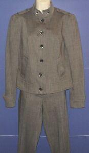 marrone 8 Size Cropped lana Suit Pants Set 4 Worth Jacket grigio e Rayon qtFSncwwz