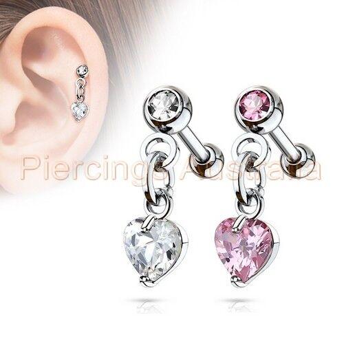 16G CZ Heart Cartilage Tragus Bar Dangle Ear Ring Piercing Stud Body Jewellery
