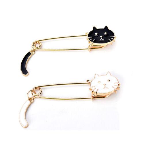 Broschen Schwarz Weiß Katzen Öl Tropfen Exquisite Brosche Pins Schm ZP