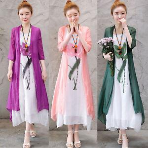 2018-Summer-Retro-Korea-Linen-Cotton-Boho-A-Line-Party-Maxi-Dress-2PCS-sets