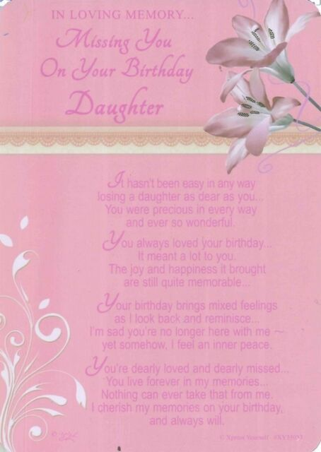 Awe Inspiring Grave Card Missing You On Your Birthday Daughter Memory Verse Funny Birthday Cards Online Elaedamsfinfo