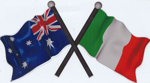AUSTRALIA ITALY  Decal size APR 73 mm H by 130 mm W gloss laminated