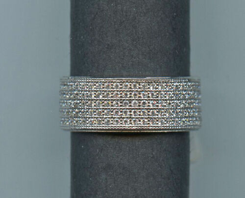 925 SILVER MICRO PAVE 2 CT TW SIGNITY CZ ETERNITY ANNIVERSARY WEDDING BAND 4.5