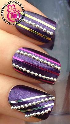 20cm SILVER BEAD CHAIN NAIL ART STUD LINE STRIPS DECAL DECORATIONS ALLOYS #544
