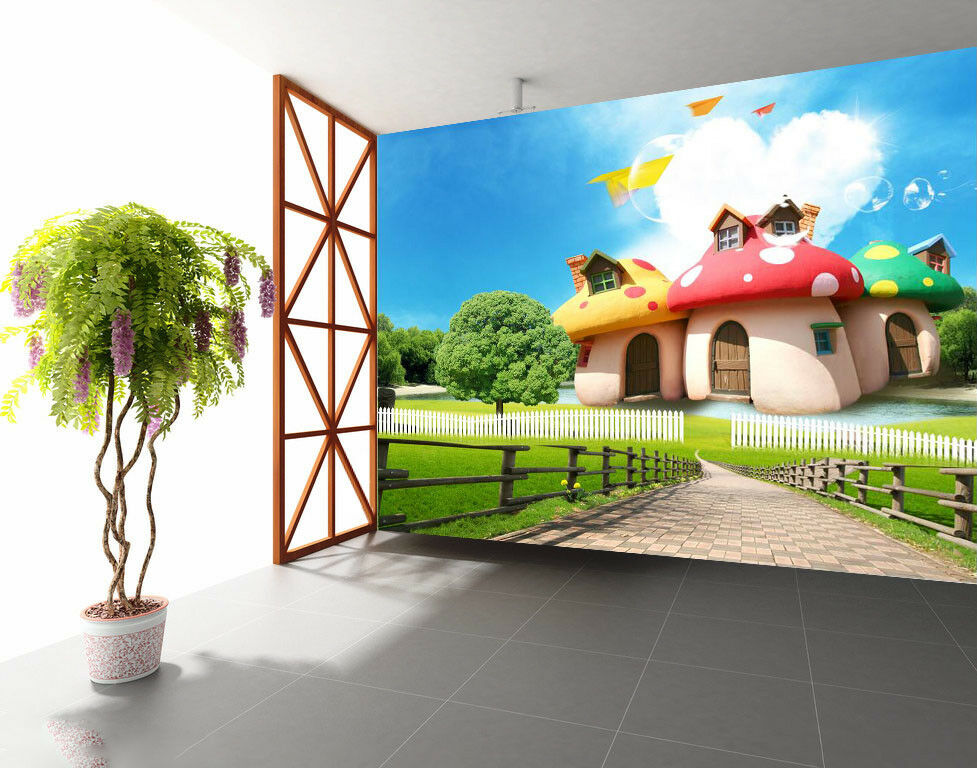 3D Mushroom House 74 Wall Paper Murals Wall Print Wall Wallpaper Mural AU Carly