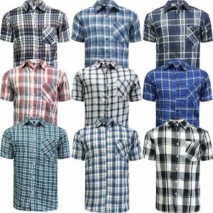 New-Mens-Cambridge-Short-Sleeve-Shirt-Striped-Checked-Flannel-Summer-Office-Work