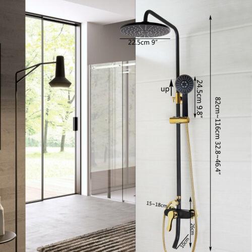 Black Wall Mount Bathroom Shower Mixer Tap Faucet One Handle W//Tub Faucet Set