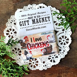 DecoWords-I-Love-Chickens-Gift-MAGNET-Rooster-Country-Chick-Hen-4H-Country-USA