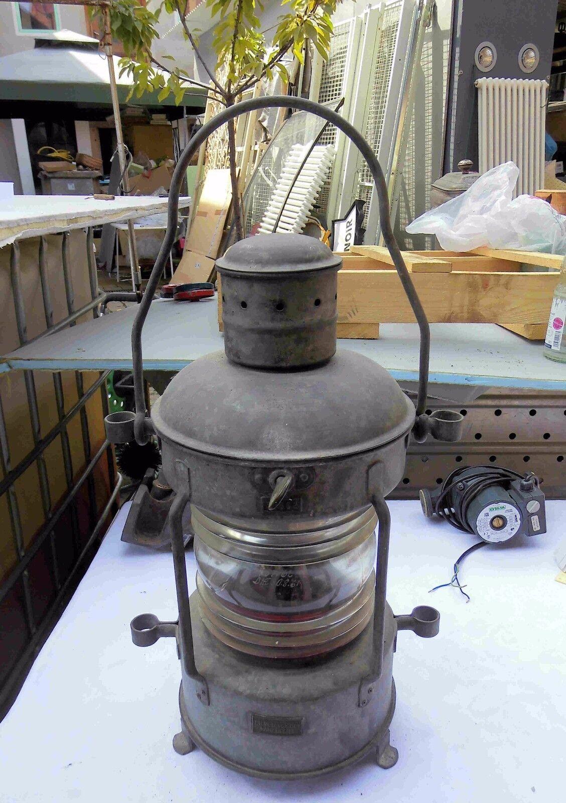 Antike Eisen Petroleum Schiffslampe Nautika Eisen Antike mit Glas und Herstellermarke Peters 56c4ab