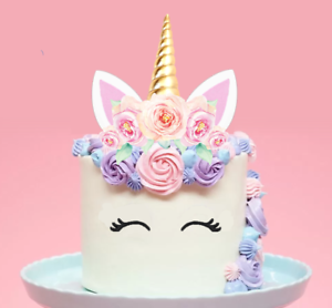 b47ada047745f Details about Large 2D Unicorn Horn & Pink Roses Edible Wafer Cake Topper  PRE-CUT #148