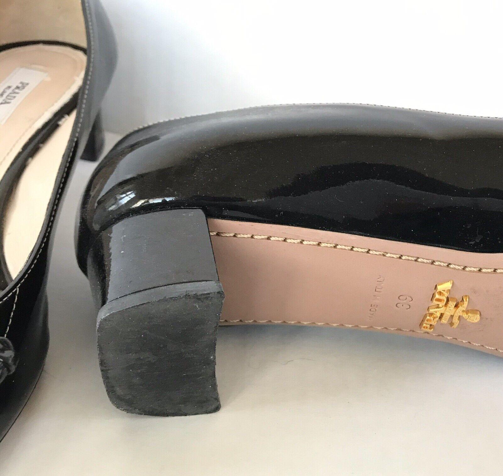 Vintage 1990s Prada Patent Leather Bow Flats Sz 39 - image 3