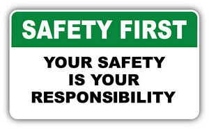 safety first warning sign responsibility car bumper sticker decal 6