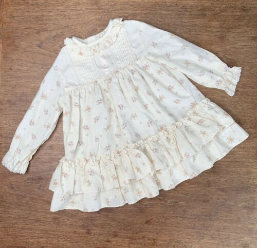 Vintage Girls 3T Tiered Prairie Dress Floral Lace… - image 1
