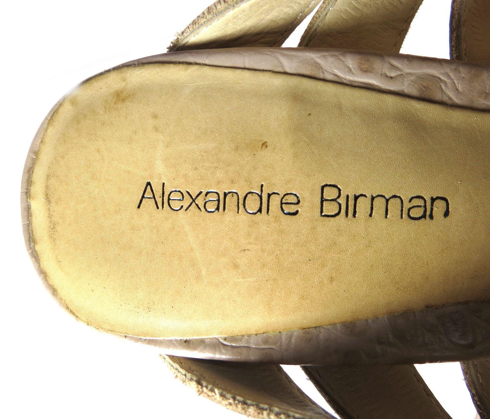 Alexandre Birman Taupe Sandale Crocodile Embossed Platform Wedge Sandale Taupe Heels Größe 7 ae1033