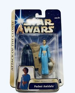 Padme Amidala Lars Homestead Figure Star Wars Attack Clones 2003 Hasbro MOC MIP