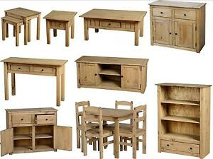Panama-Mexican-Pine-Furniture-Dining-Set-Nest-Coffee-Tables-Bookcase-Sideboard