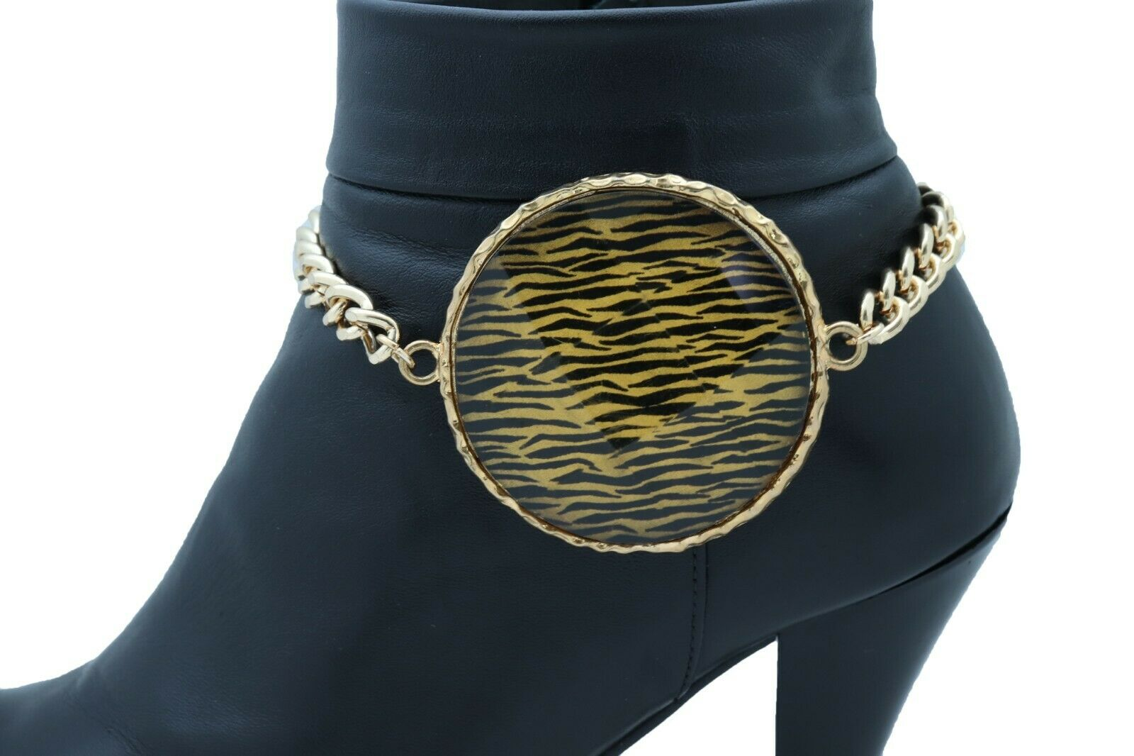 Women Gold Metal Chain Boot Bracelet Shoe Zebra Charm Jewelry Animal Print Coin