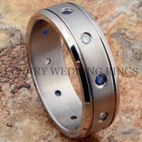 Titanium Wedding Band Mens Ring Blue And White Diamonds Bridal Jewelry Size 6-13