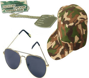 Image is loading MENS-LADIES-ARMY-CAMOUFLAGE-CAP-DOG-TAGS-AVIATOR-  sc 1 st  eBay & MENS LADIES ARMY CAMOUFLAGE CAP DOG TAGS AVIATOR GLASSES FANCY DRESS ...
