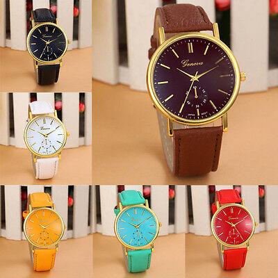 2015 New Geneva Unisex Watches Leather Band Analog Quartz Vogue WristWatch Watch
