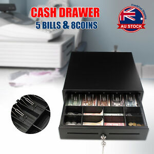 Heavy Duty Electronic Cash Drawer Cash Register POS 5 Bills 8 Coins Tray RJ11 O