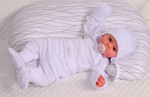 Body MÜTZE und Hose SET Wickelbody 44 50 56 62 68 74 80 Baby Anzug Weiß Taufe