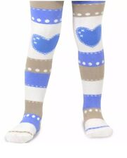 Naartjie Kids Girls Stripes with Heart Tights Blue Ivory Tight NWT Size 9-10