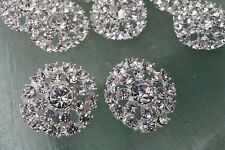 10 Pieces Rhinestone Silver Metal Buttons 23 MM Bridal Bouquet Flower Accessory