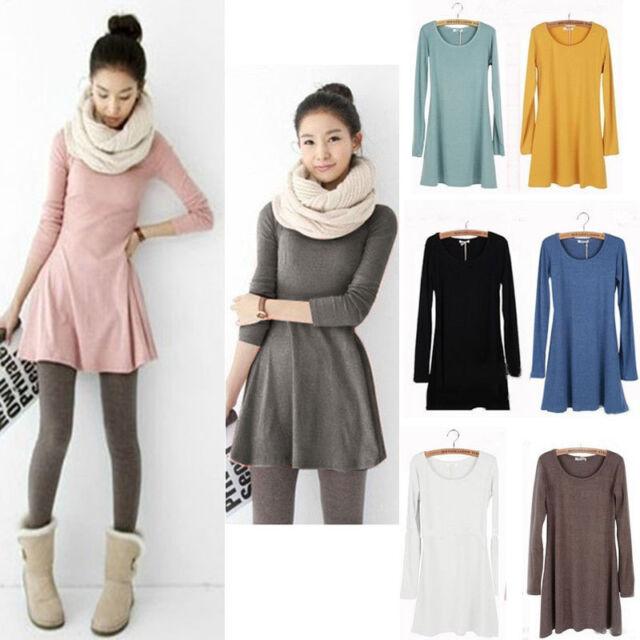 Sweet Womens Girls Korean Style Solid Plain Casual Soft Mini Dresses Skirts New