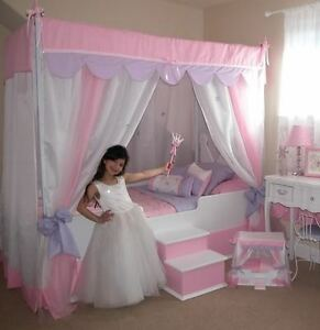Image is loading SALE-PINK-GLITZ-TWIN-CANOPY-BED-WITH-BEDDING- & SALE! PINK GLITZ TWIN CANOPY BED WITH BEDDING PRINCESS BED GIRLS ...