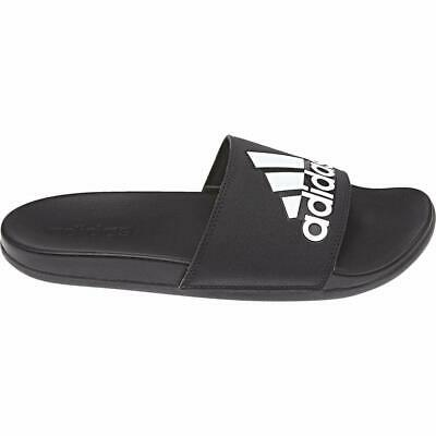 adidas Adilette Cloudfoam Plus Logo Slides Black Black White