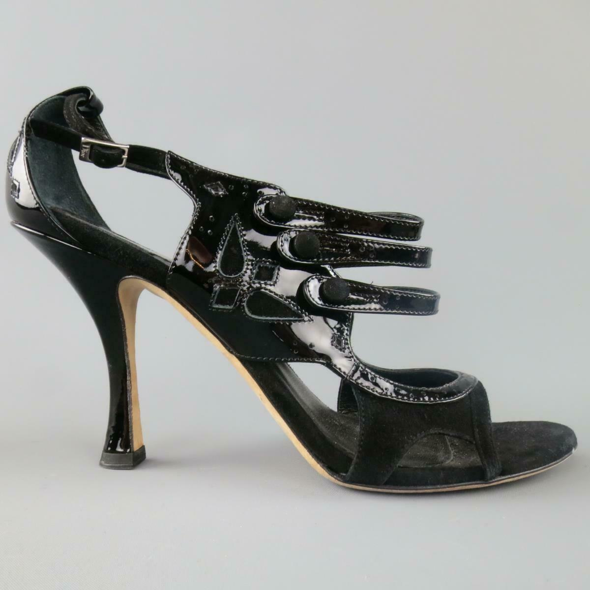 CHRISTIAN DIOR Size 11 Black Patent Leather Mary Mary Mary Jane Sandals 955617