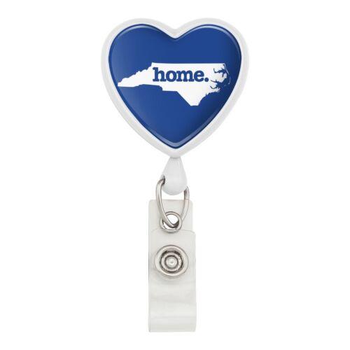 North Carolina NC Home State Solid Navy Heart Lanyard Reel Badge ID Card Holder