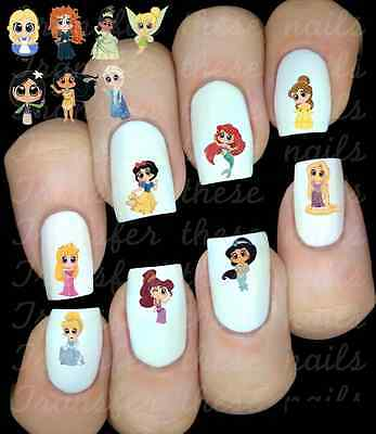 30 DISNEY PRINCESS NAIL ART DECALS STICKERS WATER TRANSFERS  PARTY FAVORS